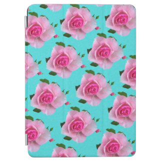 pink roses on teal iPad air cover