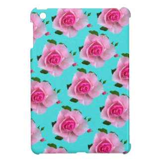 pink roses on teal iPad mini cover