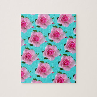 pink roses on teal jigsaw puzzle