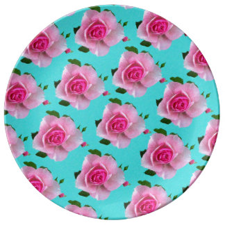 pink roses on teal plate