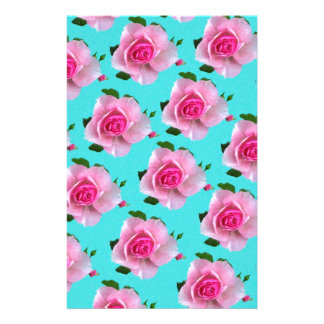 pink roses on teal stationery