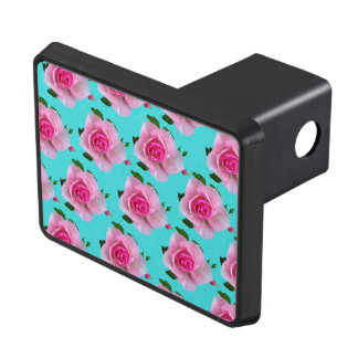 pink roses on teal trailer hitch cover