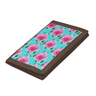 pink roses on teal trifold wallets