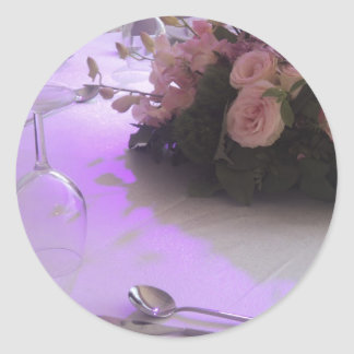 pink roses on the dinner table classic round sticker