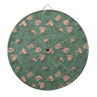 Pink Roses on Turquoise Dartboard
