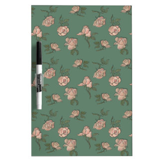 Pink Roses on Turquoise Dry Erase Board