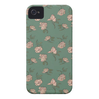 Pink Roses on Turquoise iPhone 4 Cover