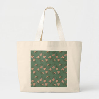 Pink Roses on Turquoise Large Tote Bag