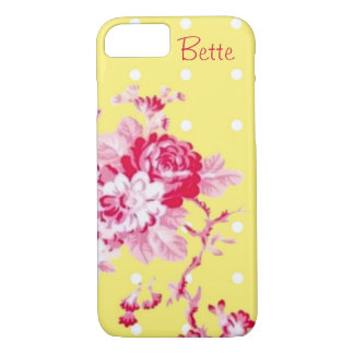Pink Roses On Yellow iPhone 7 Case