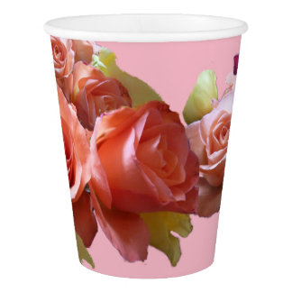 Pink Roses Party Paper Cup