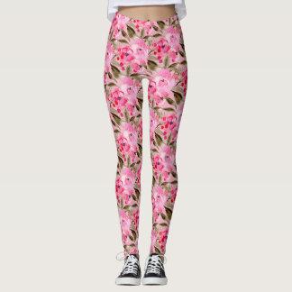 Pink Roses Pattern Leggings