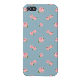Pink Roses Pattern on Blue iPhone 5 Case