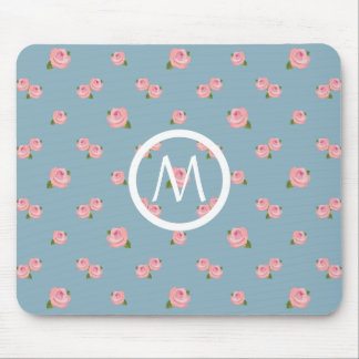 Pink Roses Pattern on Blue (Personalized) Mouse Pad