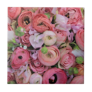 pink roses & peonies by Therosegarden Tile