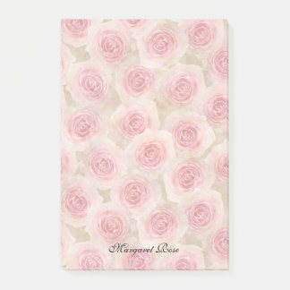 Pink Roses Personalized 4 x 6 Post-it Notes