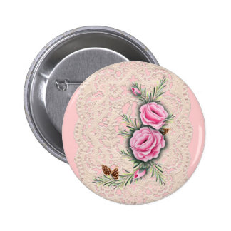 PINK ROSES & PINE by SHARON SHARPE 2 Inch Round Button