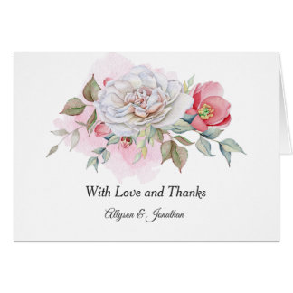 Pink Roses Pink Poppies Greenery Thank You   Card