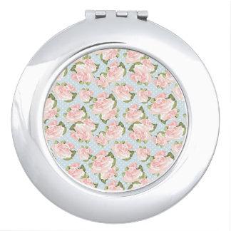 Pink Roses & Polka Dots Travel Mirrors