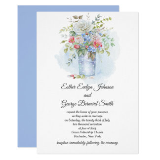 Pink Roses Poppies Blue Flowers Bouquet Wedding | Card