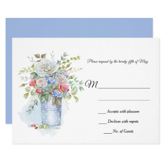 Pink Roses, Poppies Blue Flowers Tin Bucket RSVP | Card