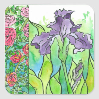 Pink Roses Purple Iris Watercolor Flowers Square Sticker