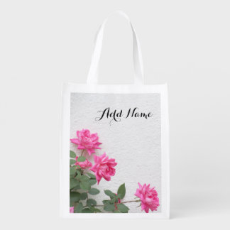 Pink roses reusable grocery bag