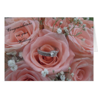 Pink Roses & Ring Wedding Card