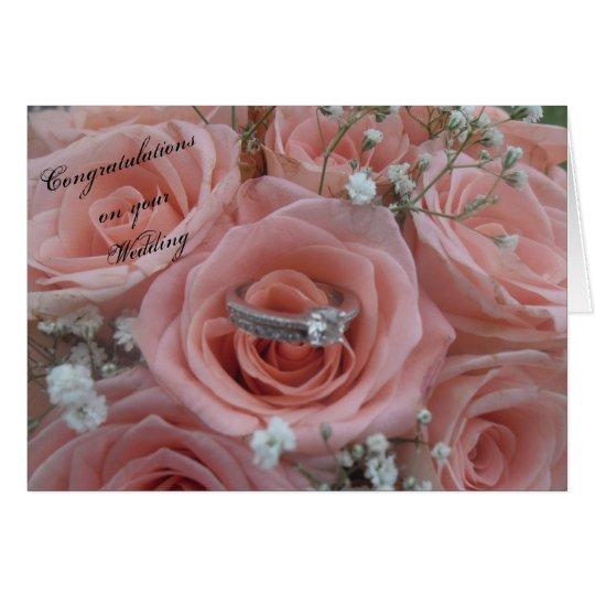 Pink Roses & Ring Wedding Card