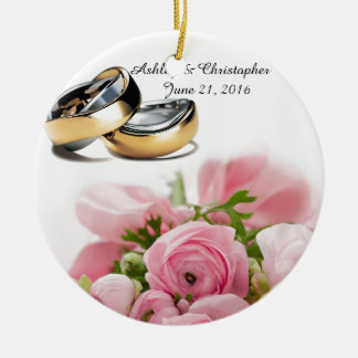 Pink roses round ceramic ornament