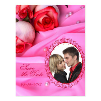 Pink Roses Satin Save the Date Postcards