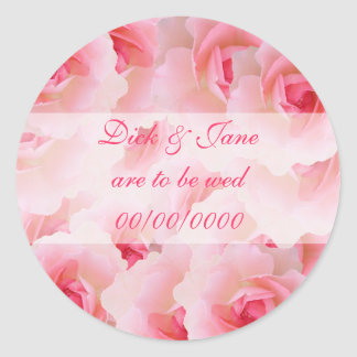 Pink Roses Save the Date Classic Round Sticker