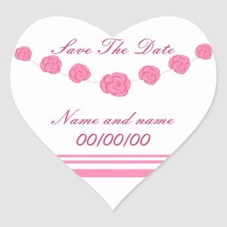 Pink  Roses Save The Date, heart stickers