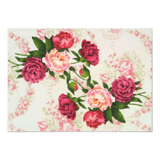 """Pink Roses Save The Date 5"""" X 7"""" Invitation Card"""