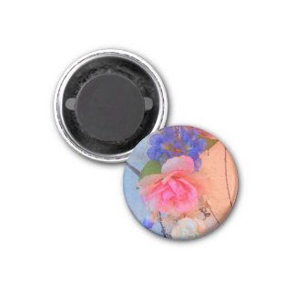 Pink Roses Shabby Chic Round Magnet