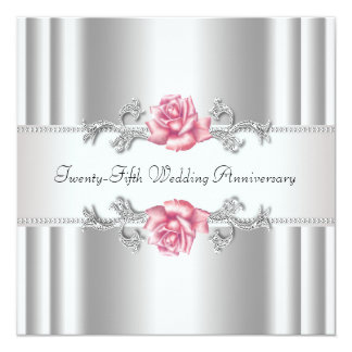 """Pink Roses Silver 25th Wedding Anniversary 5.25"""" Square Invitation Card"""