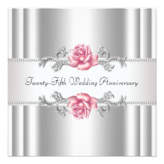 Pink Roses Silver 25th Wedding Anniversary Announcement