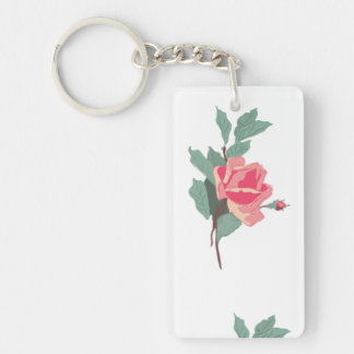 Pink Roses Single-Sided Rectangular Acrylic Keychain