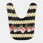 Pink roses stripes gold faux glitter polka dots bib
