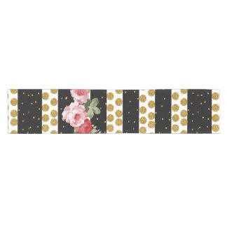 Pink roses stripes gold faux glitter polka dots short table runner