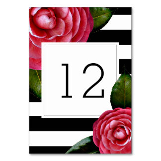 Pink Roses + Stripes Table Number