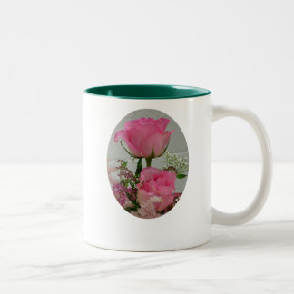 Pink Roses, Take time to smell   the roses...  Two-Tone Coffee Mug