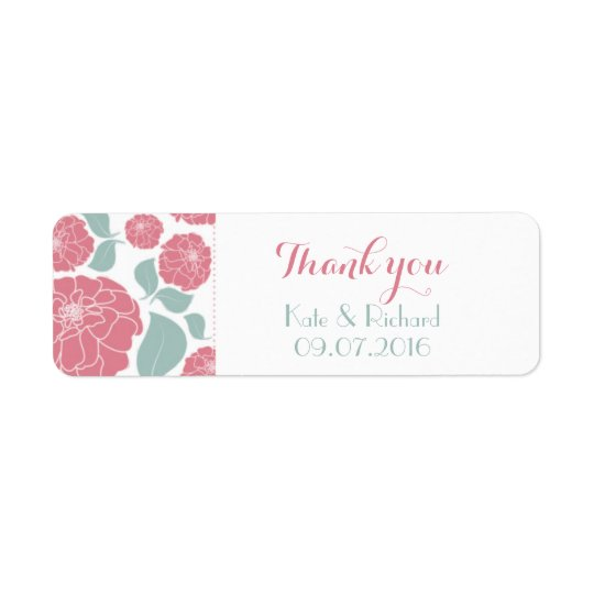 Pink Roses Thank You Sticker Label for Wedding Return Address Label