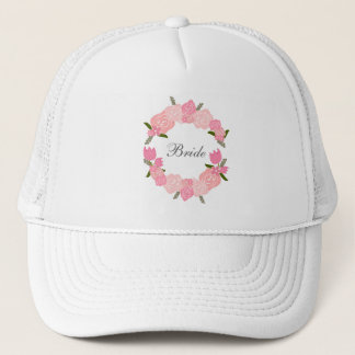 Pink Roses, Tulips, Flowers Wreath, Bridal Trucker Hat