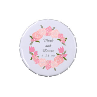 Pink Roses, Tulips, Flowers Wreath Wedding Favours