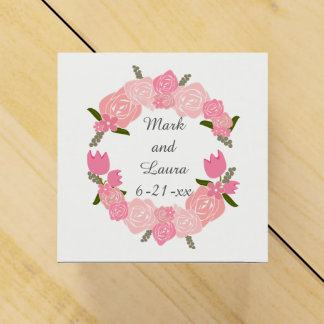 Pink Roses, Tulips, Flowers Wreath Wedding Favours Favor Boxes