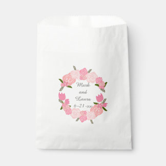 Pink Roses, Tulips, Flowers Wreath Wedding Favours Favour Bag