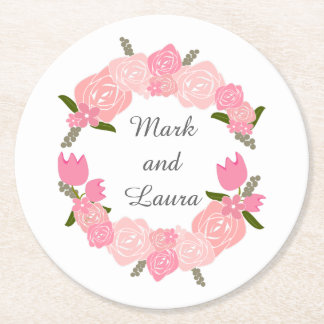 Pink Roses, Tulips, Flowers Wreath Wedding Favours Round Paper Coaster