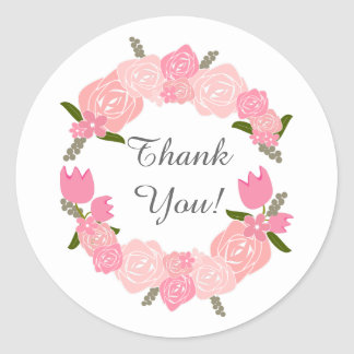 Pink Roses, Tulips, Flowers Wreath Wedding Favours Round Sticker
