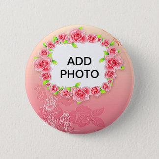 Pink Roses Valentine Add Your Photo 2 Inch Round Button