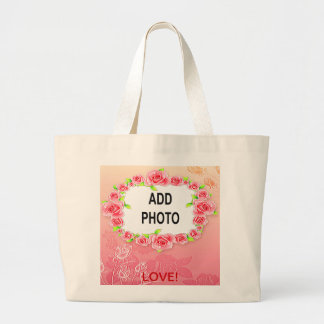 Pink Roses Valentine Add Your Photo Tote Bags